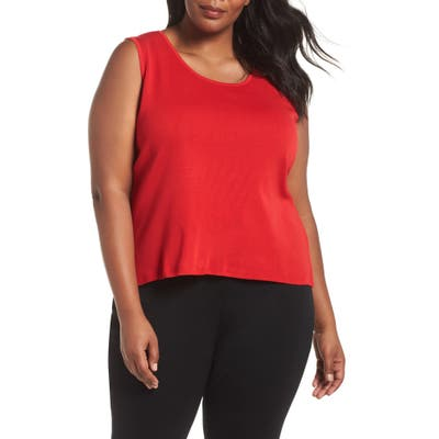 Plus Size Ming Wang Scoop Neck Knit Tank, Red