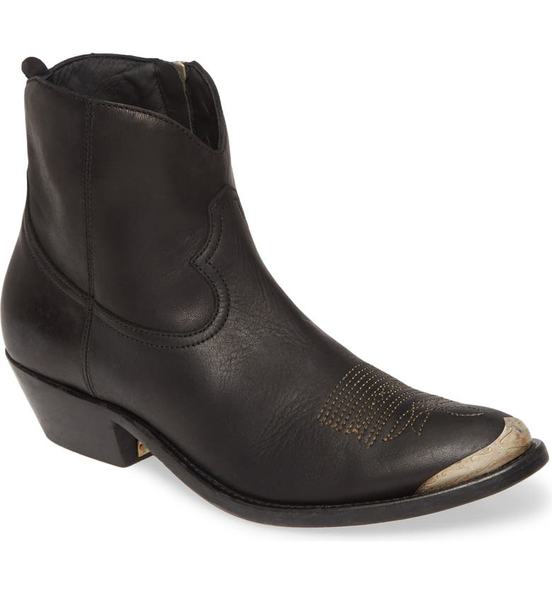 GOLDEN GOOSE Young Western Bootie, Main, color, BLACK LEATHER