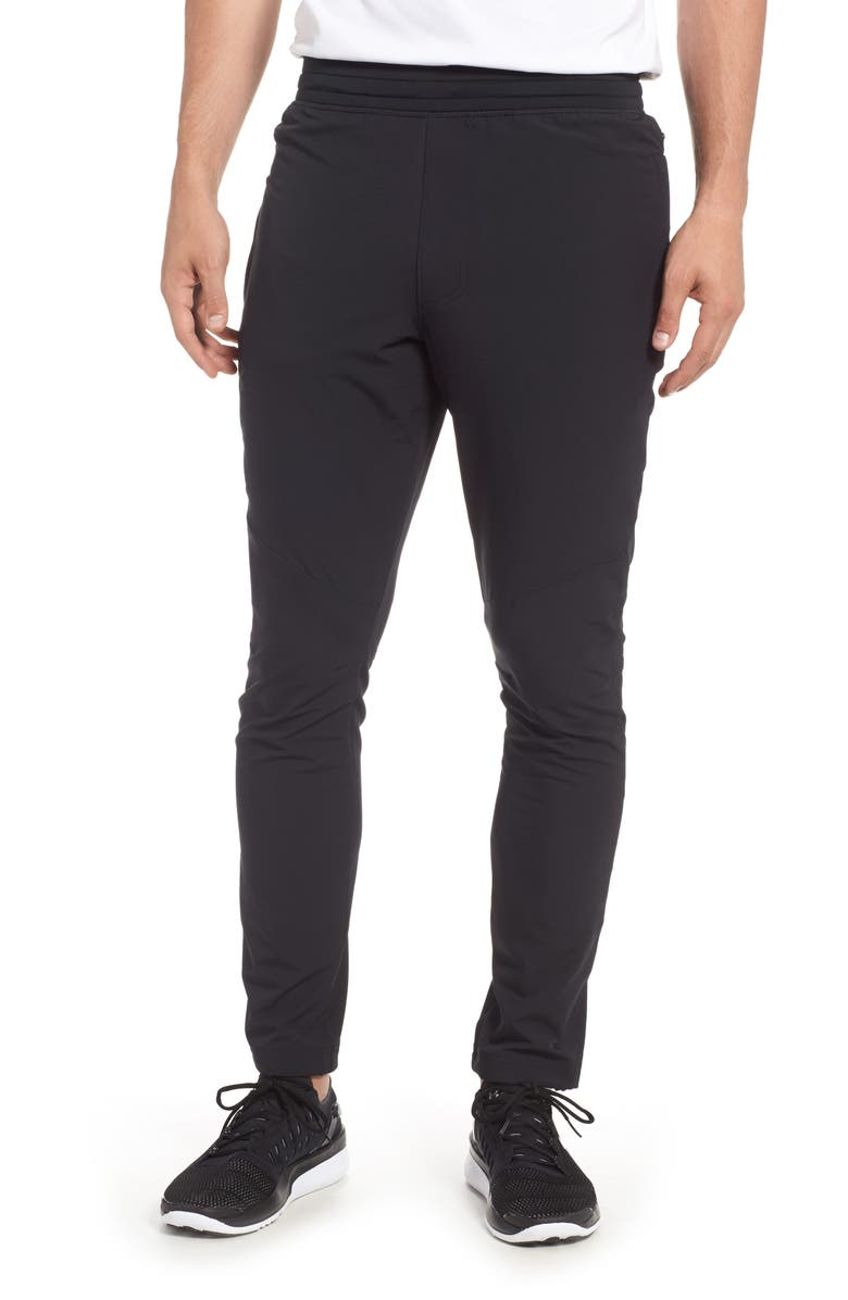 UNDER ARMOUR Tapered Slim Fit Woven Training Pants, Main, color, BLACK