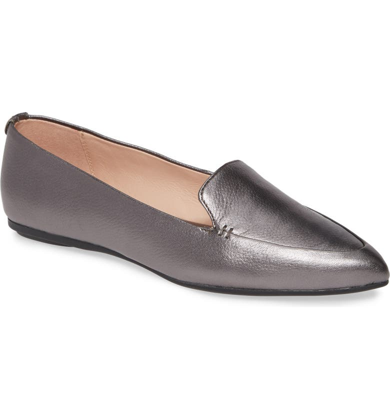 TARYN ROSE Faye Pointy Toe Loafer, Main, color, GUNMETAL LEATHER