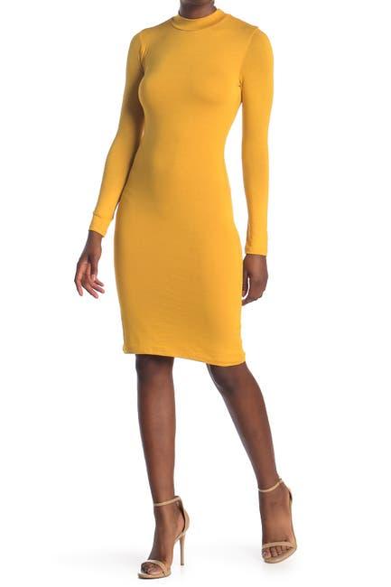 Image of Velvet Torch Mock Neck Long Sleeve Midi Dress