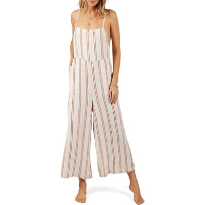 Rip Curl Seascape Stripe Wide Leg Jumpsuit, Ivory