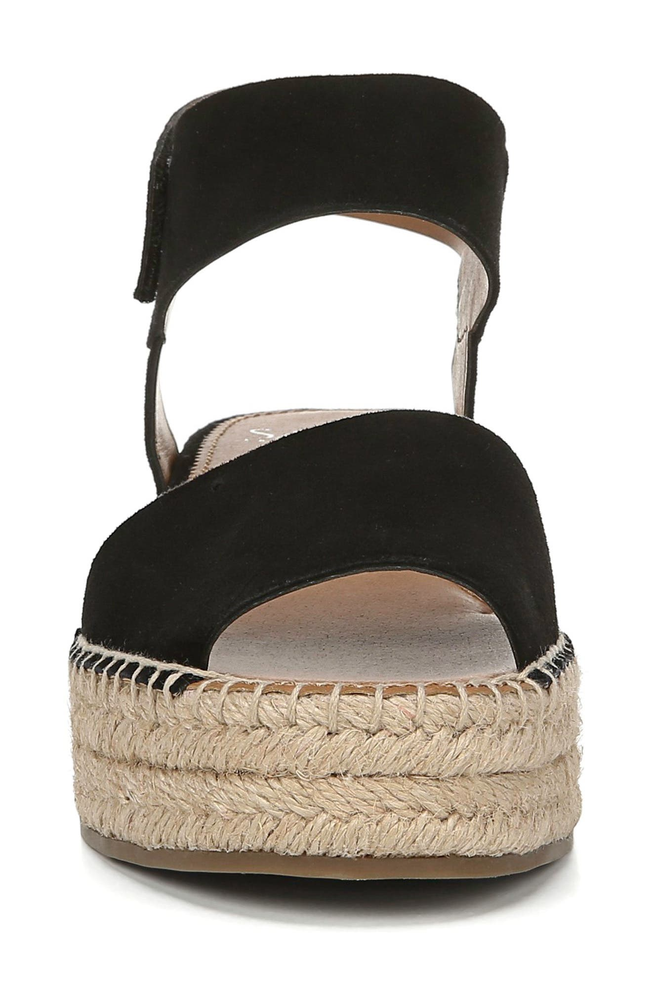 ,                             Oak Platform Wedge Espadrille,                             Alternate thumbnail 4, color,                             BLACK SUEDE