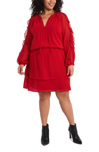 1.state Dresses COLD SHOULDER LONG SLEEVE CHIFFON DRESS
