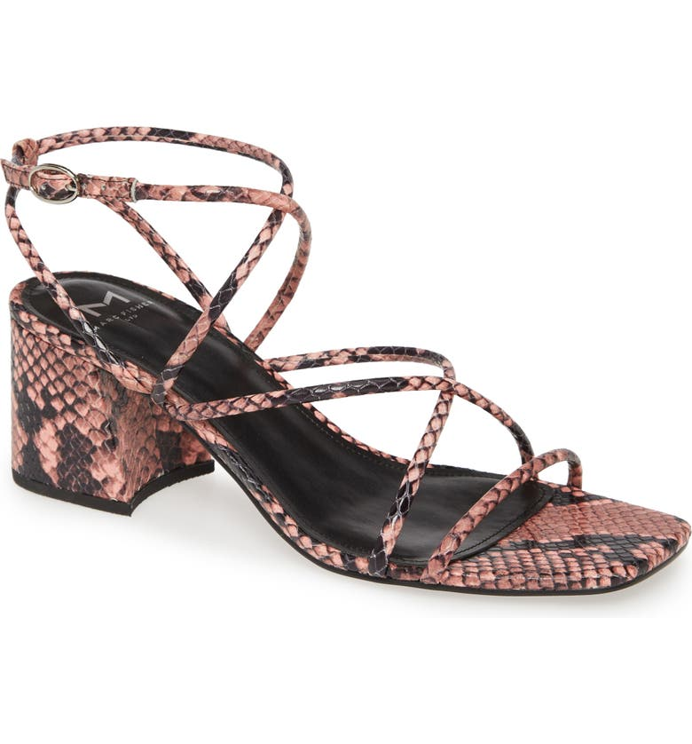 MARC FISHER LTD Nakita Strappy Sandal, Main, color, PINK SNAKE PRINT