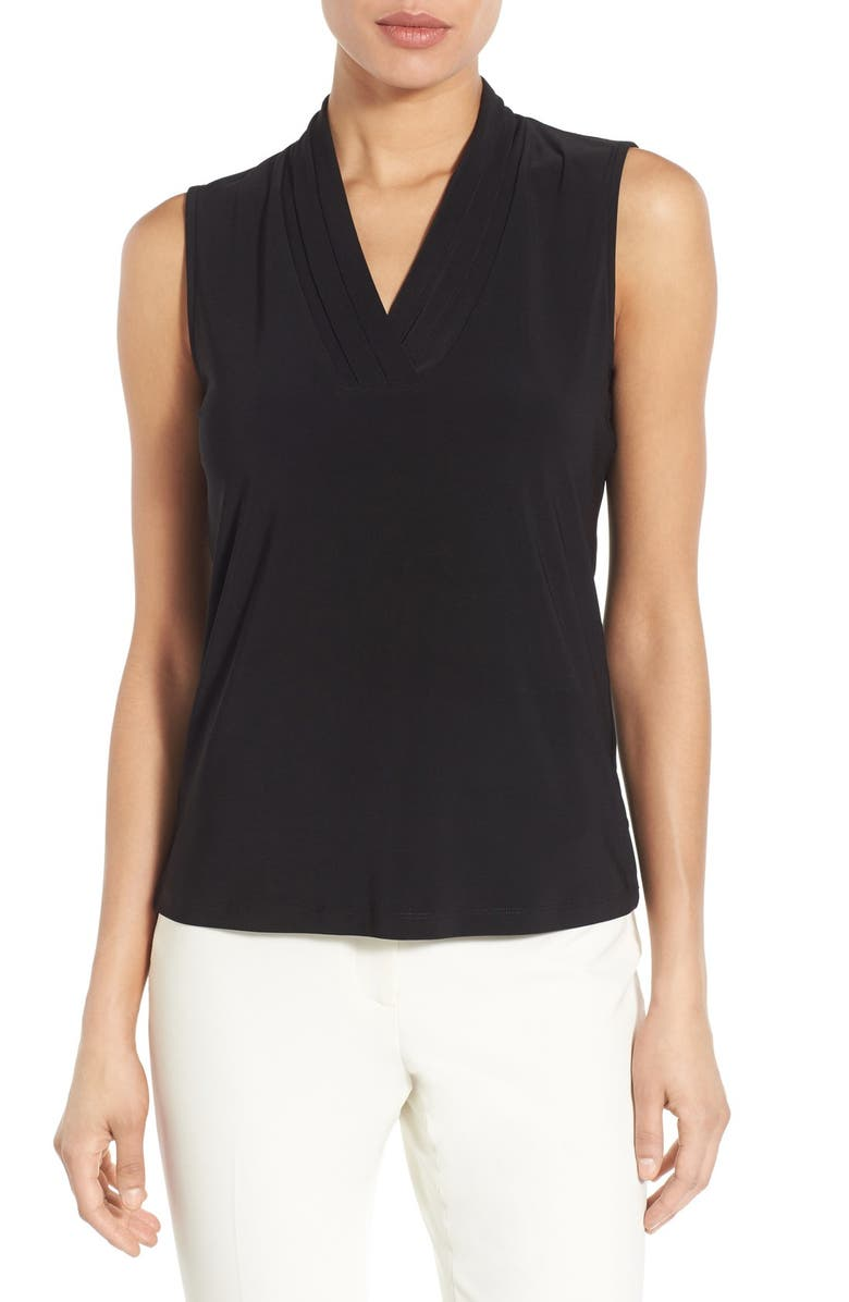 ANNE KLEIN Triple Pleat V-Neck Jersey Top, Main, color, BLACK