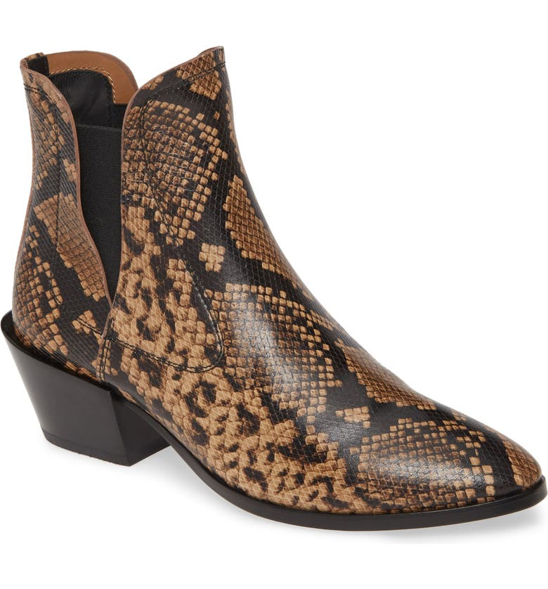 TOD'S Tex Snake Embossed Chelsea Bootie, Main, color, GREY