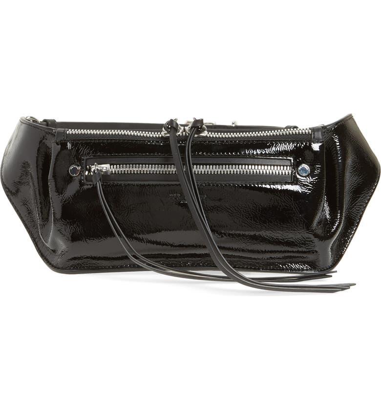 RAG & BONE Ellis Patent Leather Fanny Pack, Main, color, BLACK PATENT