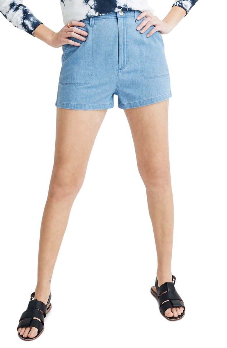 MADEWELL Denim Camp Shorts, Main, color, 400