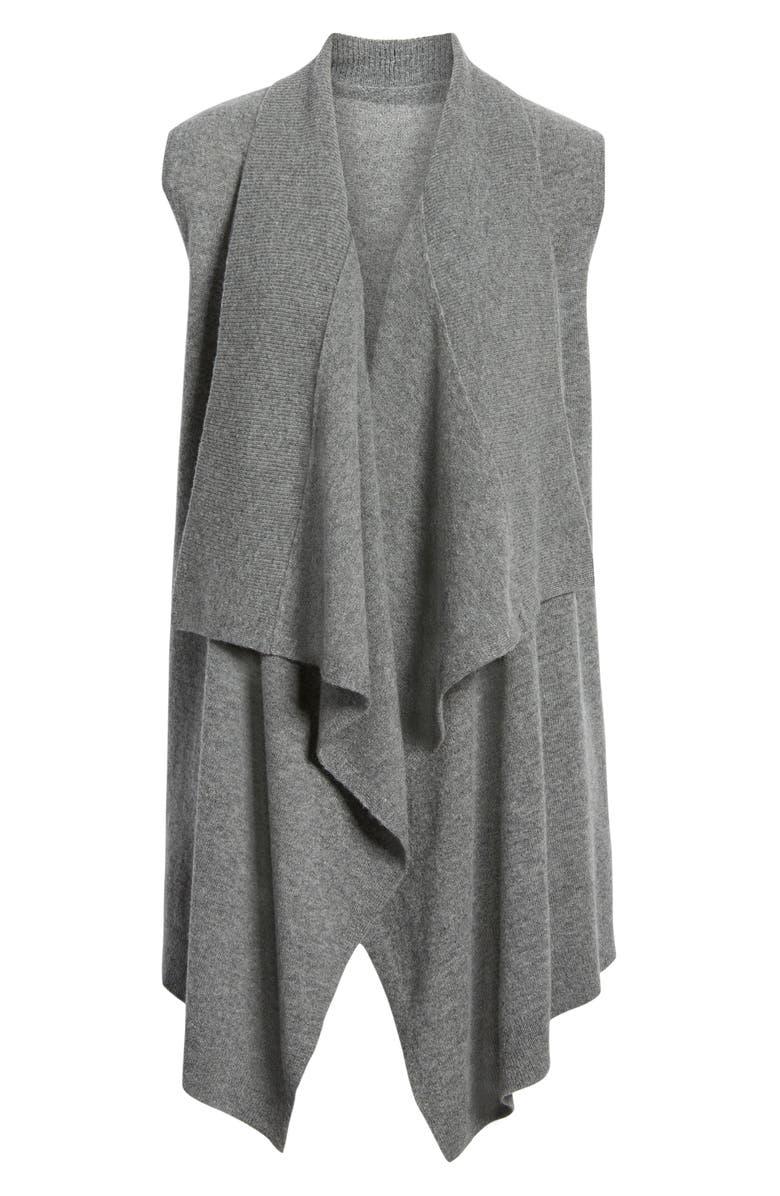 HALOGEN<SUP>®</SUP> Wool & Cashmere Drape Front Sweater Vest, Main, color, 030