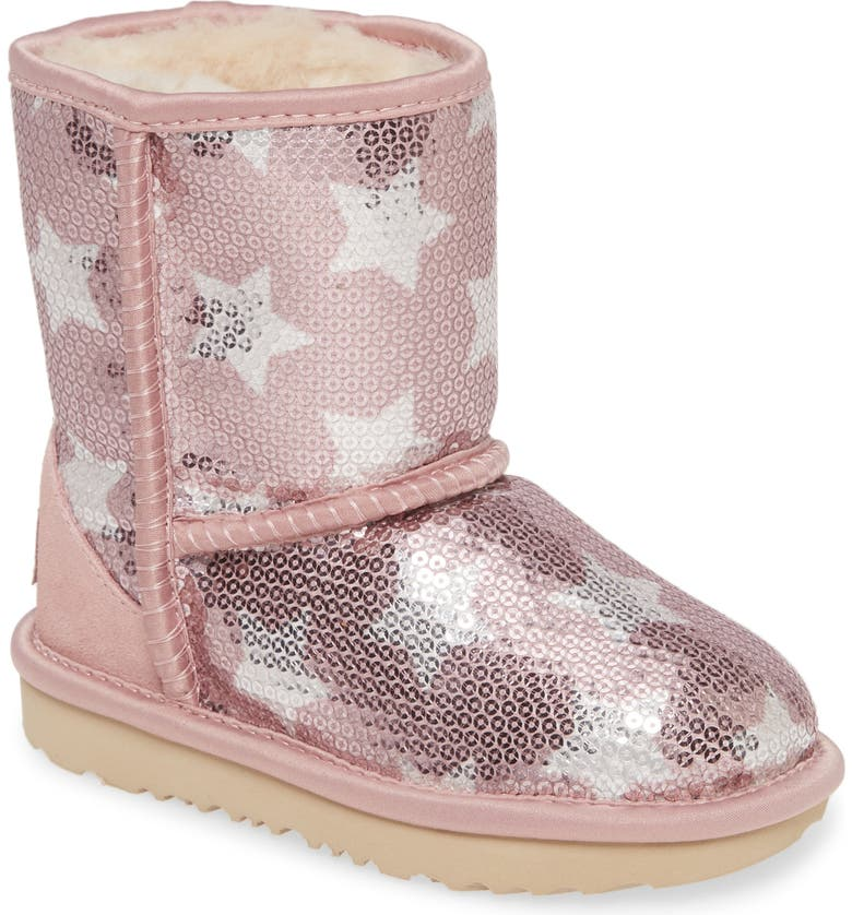 UGG® Classic Short II Sequin Star Boot (Walker & Toddler