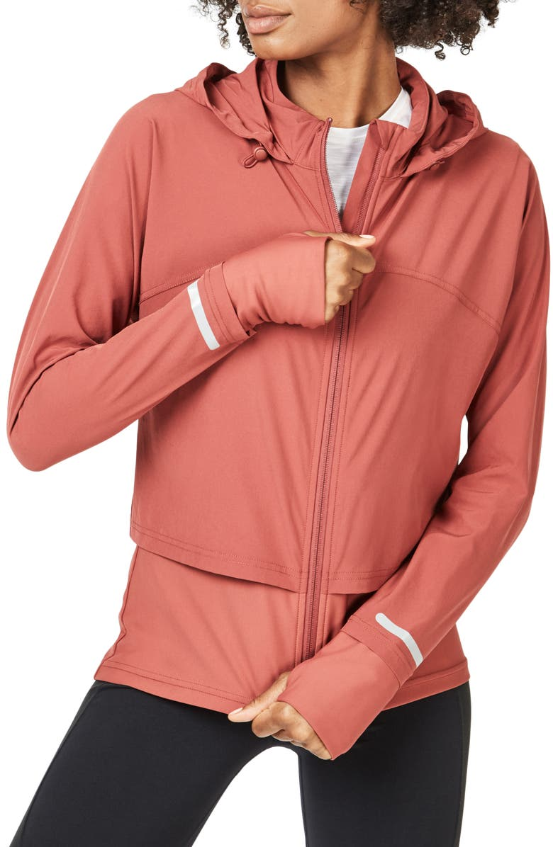 SWEATY BETTY Fast Track Jacket, Main, color, RUST