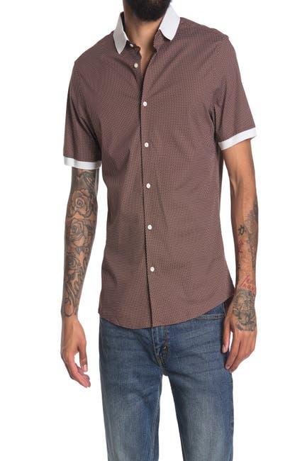 Image of Michael Kors Pin Dot Contrast Trim Slim Fit Shirt