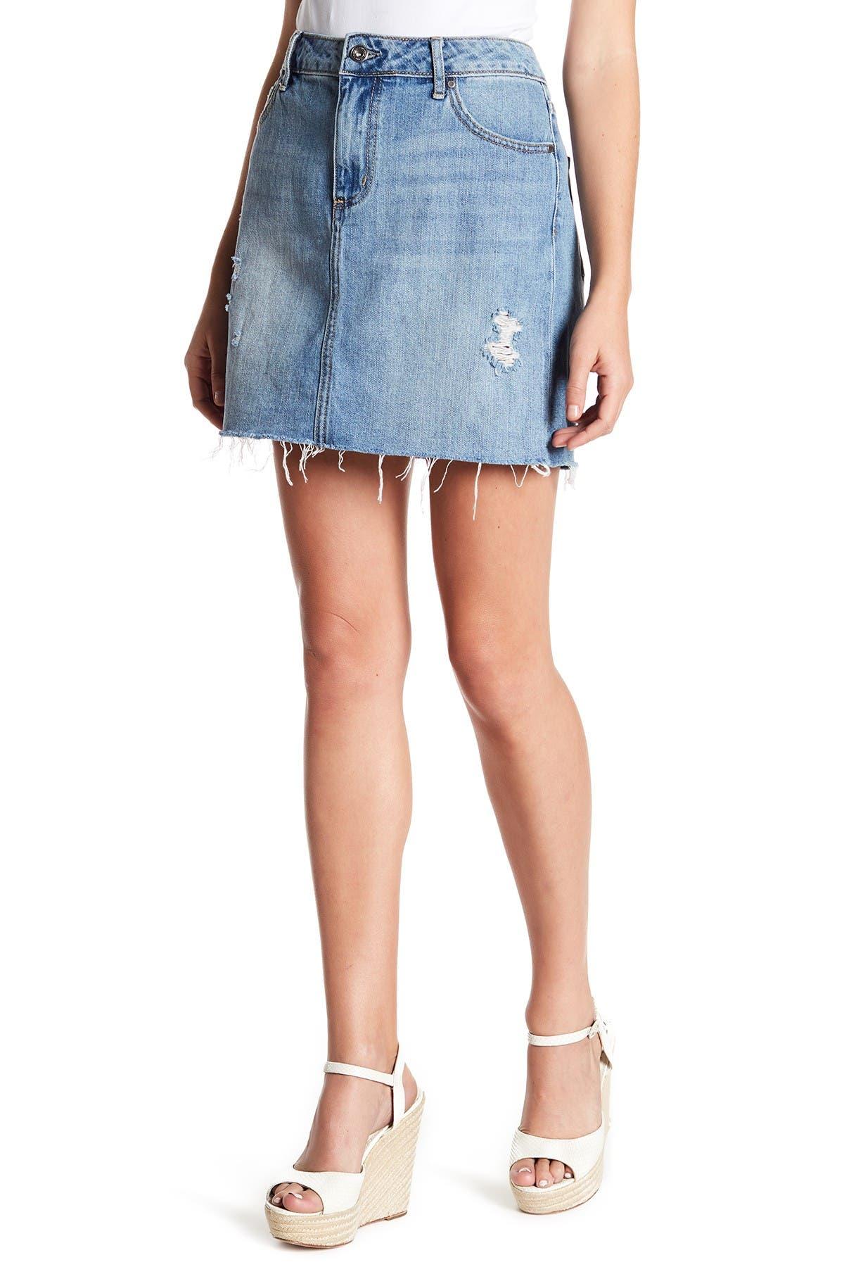Image of Melrose and Market Cutoff Denim Mini Skirt