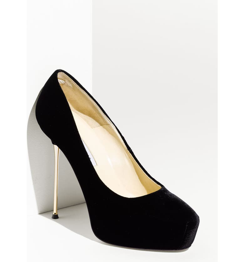 BRIAN ATWOOD Metal Heel Velvet Pump, Main, color, 001