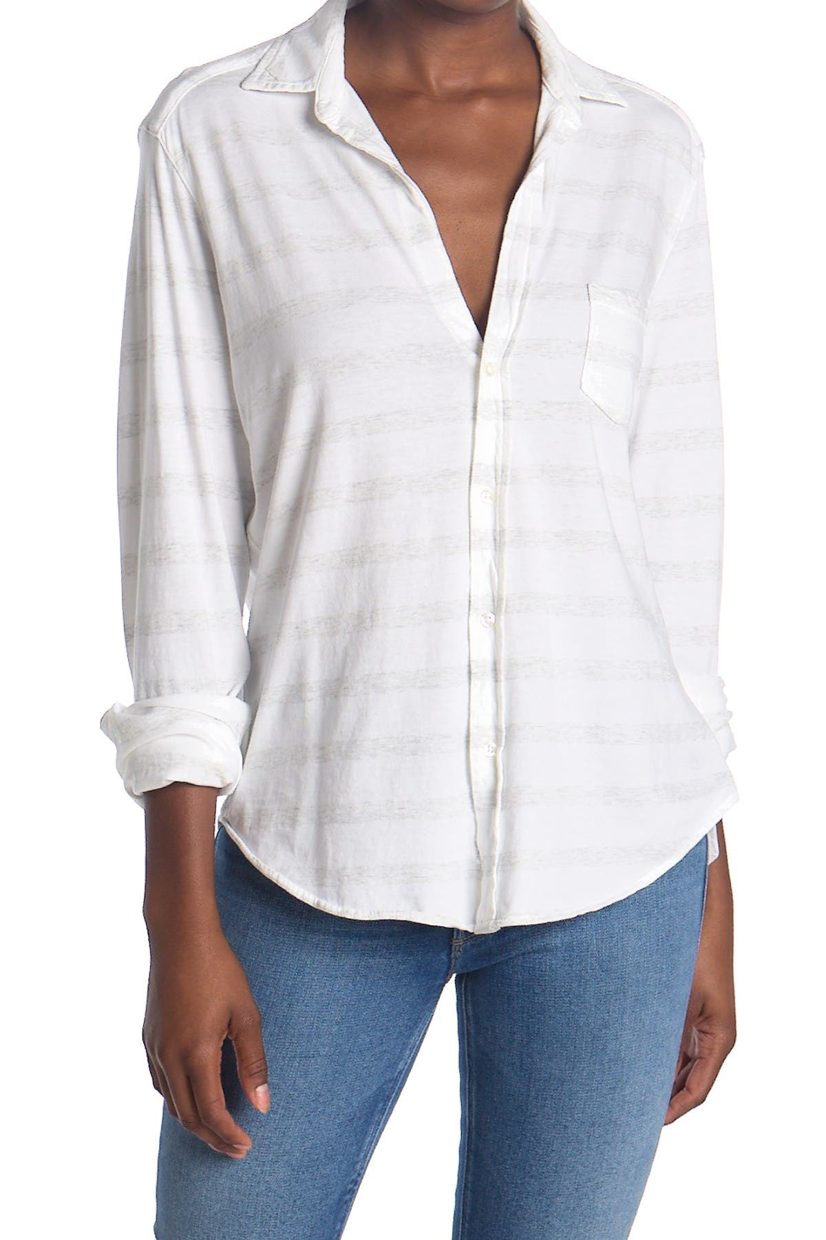 Image of FRANK & EILEEN Striped Relaxed Fit Tunic Shirt