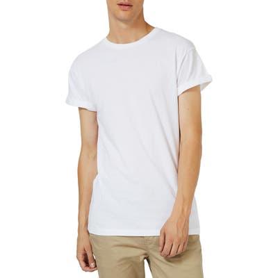 Topman Roller Sleeve T-Shirt, White