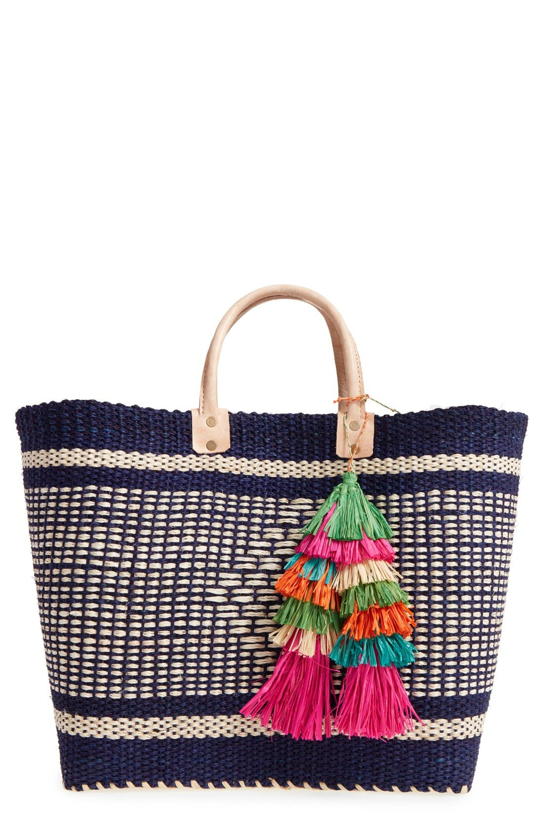,                             'Ibiza' Woven Tote with Tassel Charms,                             Main thumbnail 8, color,                             400