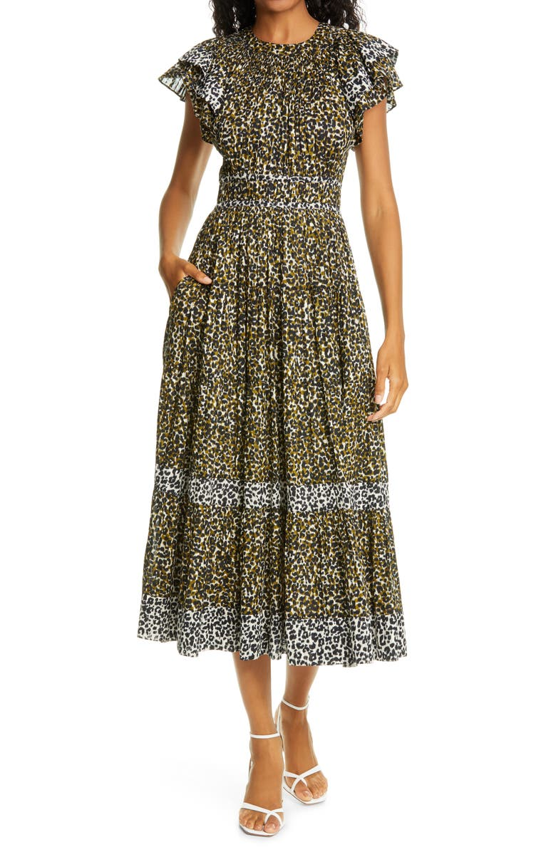 ULLA JOHNSON Iona Cheetah Print Midi Dress, Main, color, ARMY