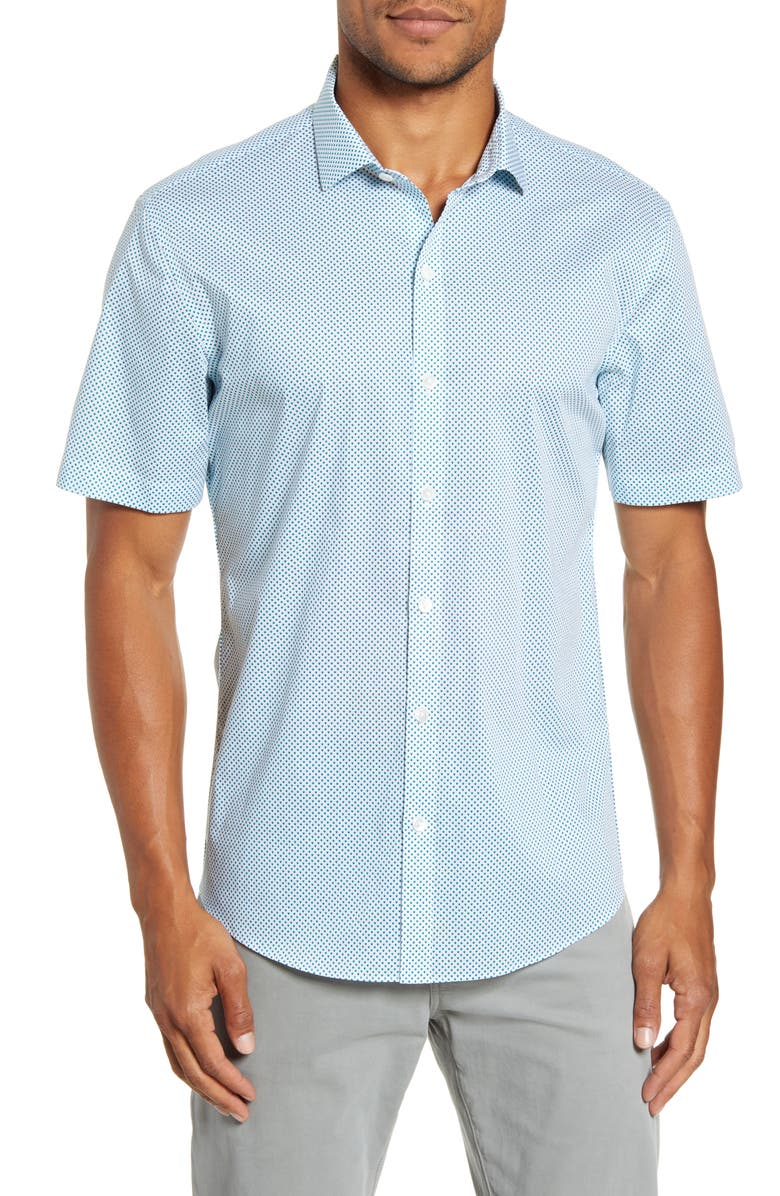 ZACHARY PRELL Prescott Regular Fit Short Sleeve Button-Up Sport Shirt, Main, color, AQUA