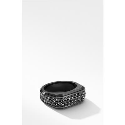 David Yurman Roman Signet Black Titanium Ring With Black Diamonds