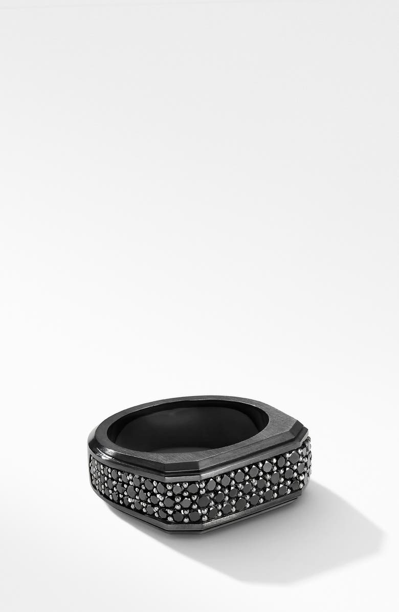DAVID YURMAN Roman Signet Black Titanium Ring with Black Diamonds, Main, color, BLACK TITANIUM/ BLACK DIAMOND