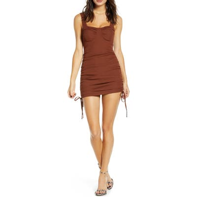 J.o.a. Side Ruched Body-Con Dress, Brown