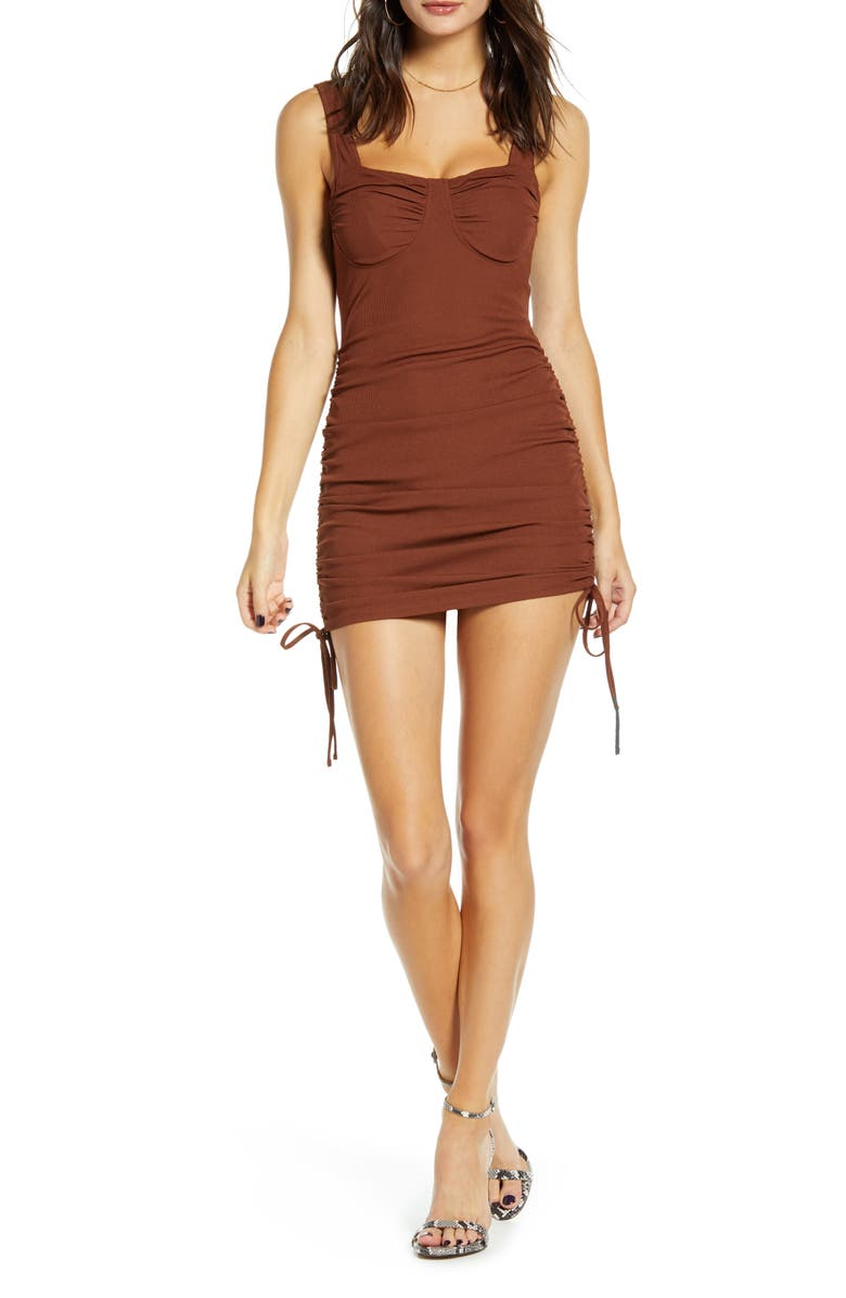 J.O.A. Side Ruched Body-Con Dress, Main, color, DARK BROWN