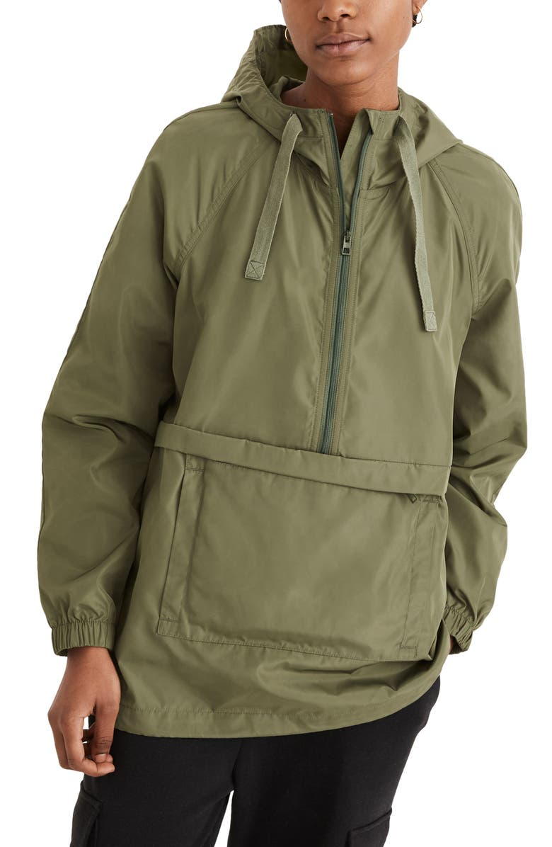 MADEWELL (Re)sourced Raincheck Packable Popover Raincoat, Main, color, FADED PALM