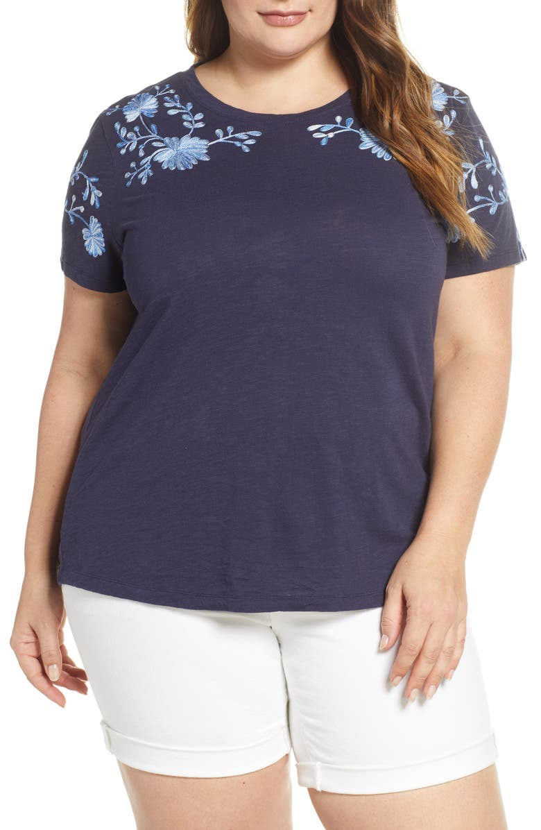 LUCKY BRAND Embroidered Shoulder Tee, Main, color, 410