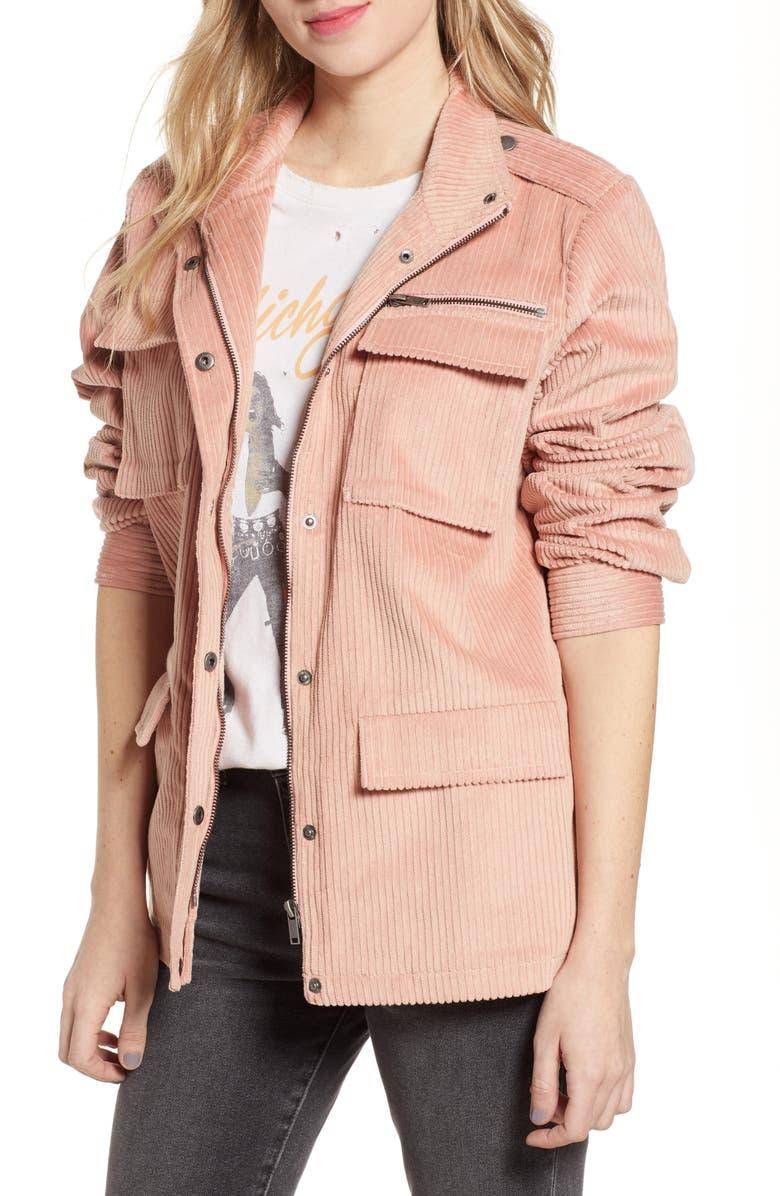 NOISY MAY Anya Corduroy Jacket, Main, color, MELLOW ROSE