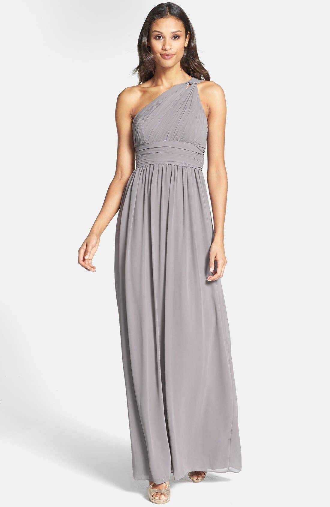,                             'Rachel' Ruched One-Shoulder Chiffon Gown,                             Main thumbnail 13, color,                             025