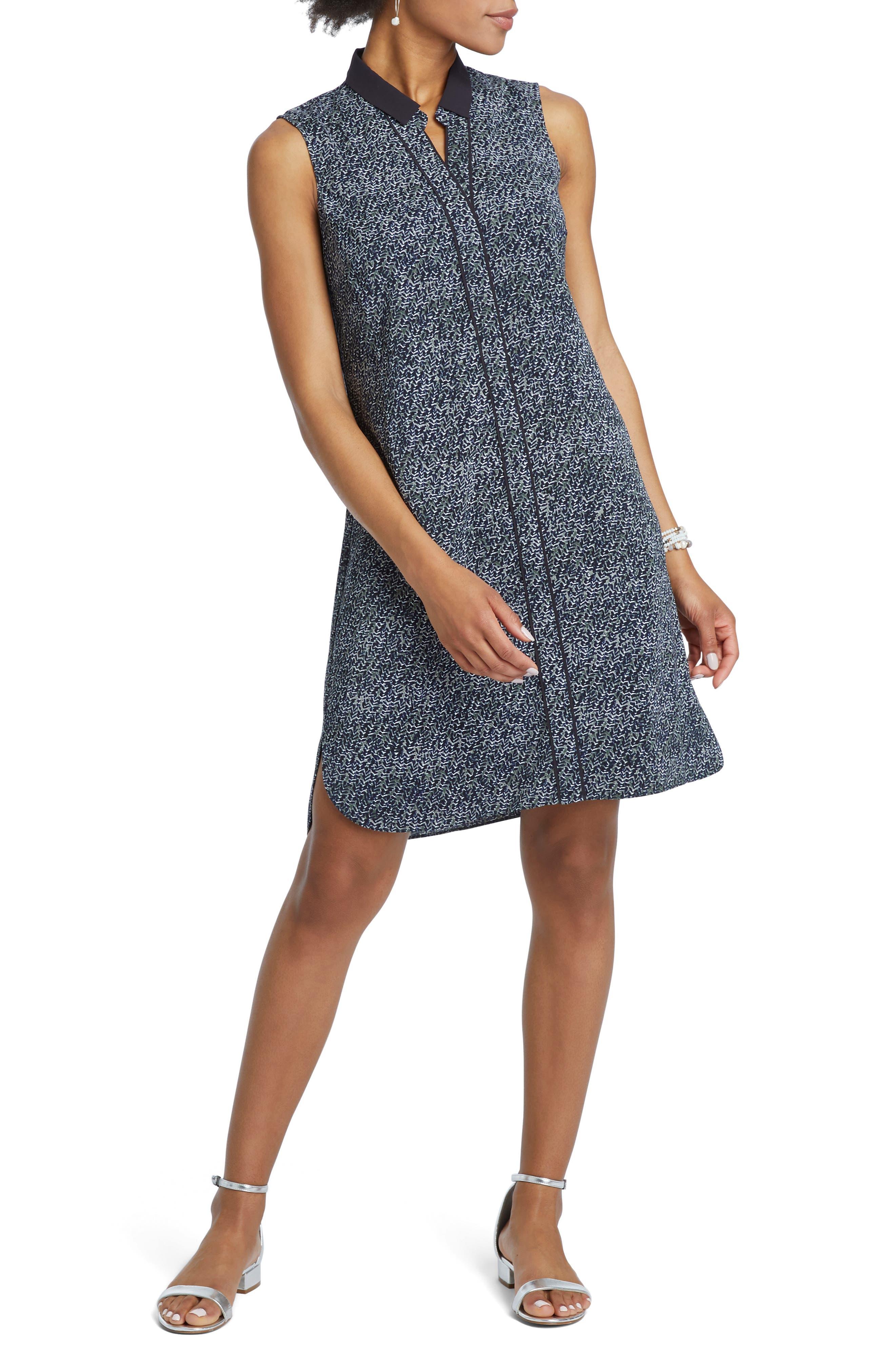 Nic+Zoe Twisted Vines Shift Dress, Blue