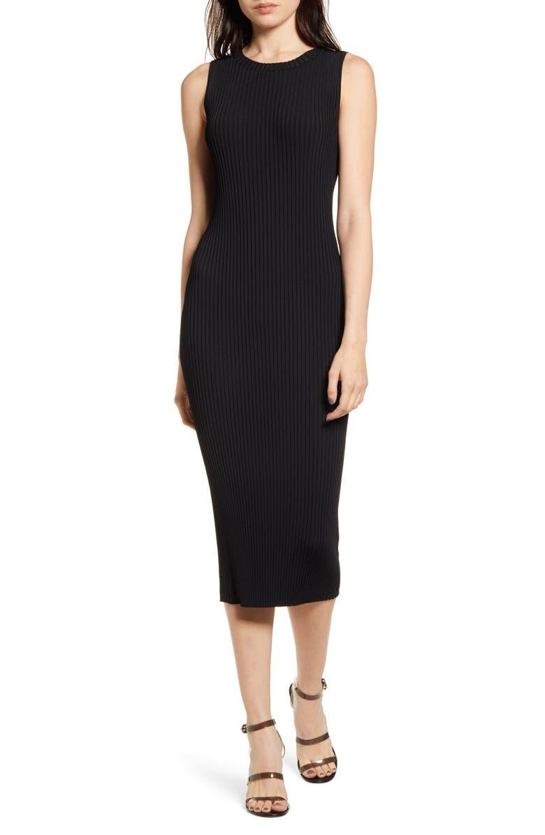 CHELSEA28 Ribbed Sleeveless Sweater Dress, Main, color, BLACK