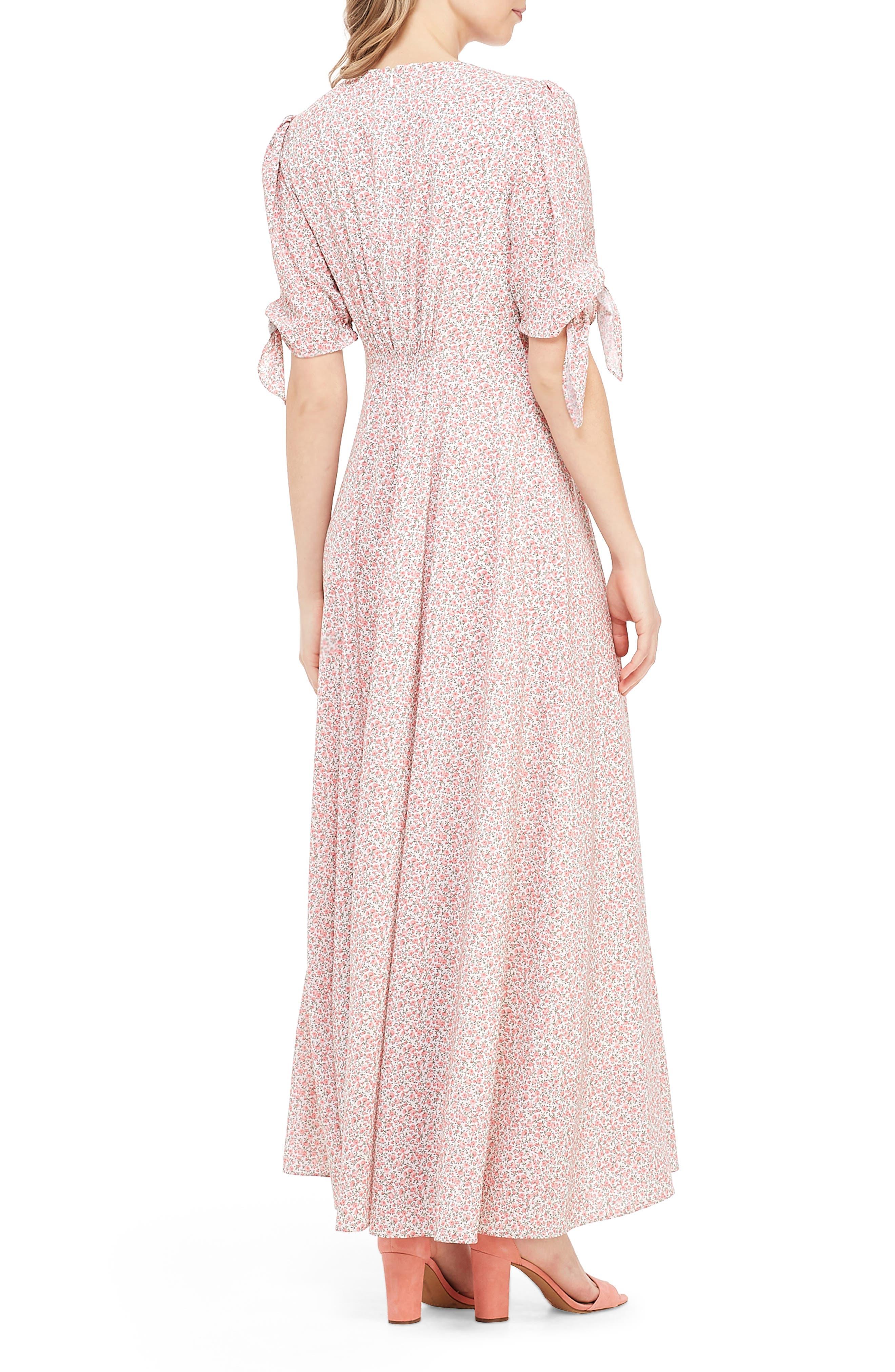 ,                             Ditsy Floral Print Maxi Dress,                             Alternate thumbnail 2, color,                             PORCELIAN/ PEACH WHISPER
