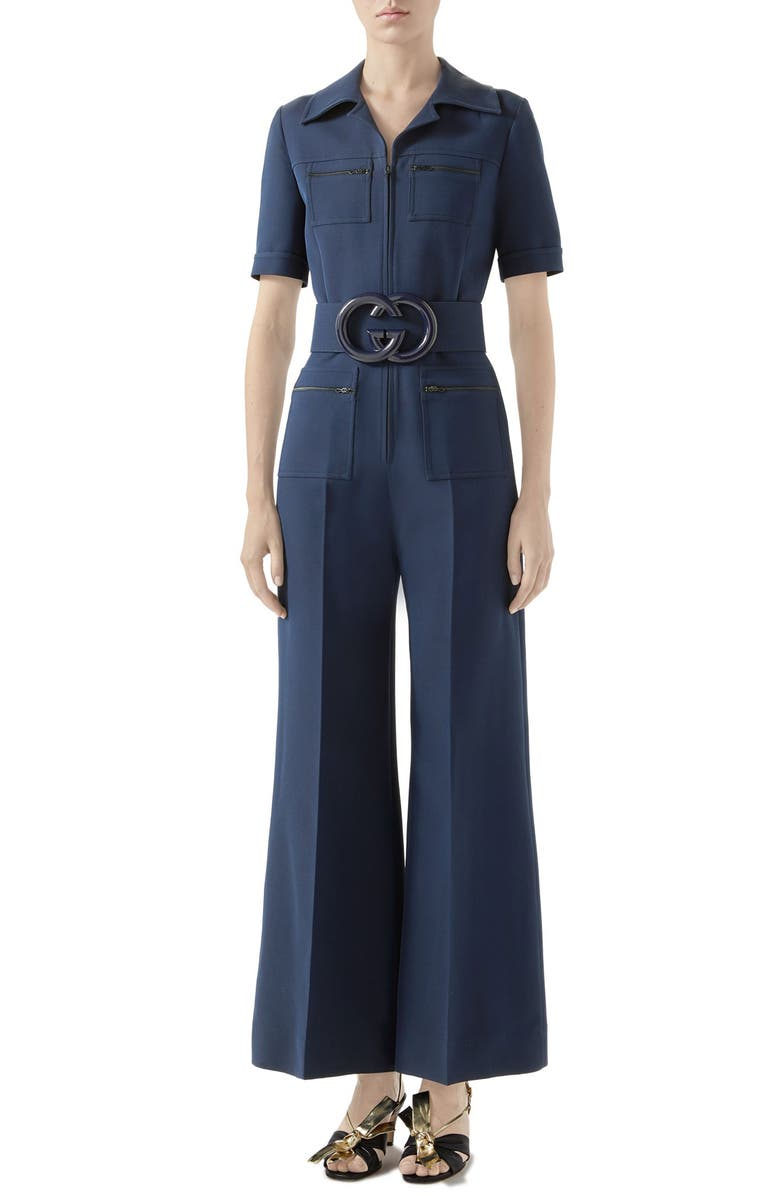 GUCCI Belted Wide Leg Cady Crepe Jumpsuit, Main, color, BLUE ROYAL