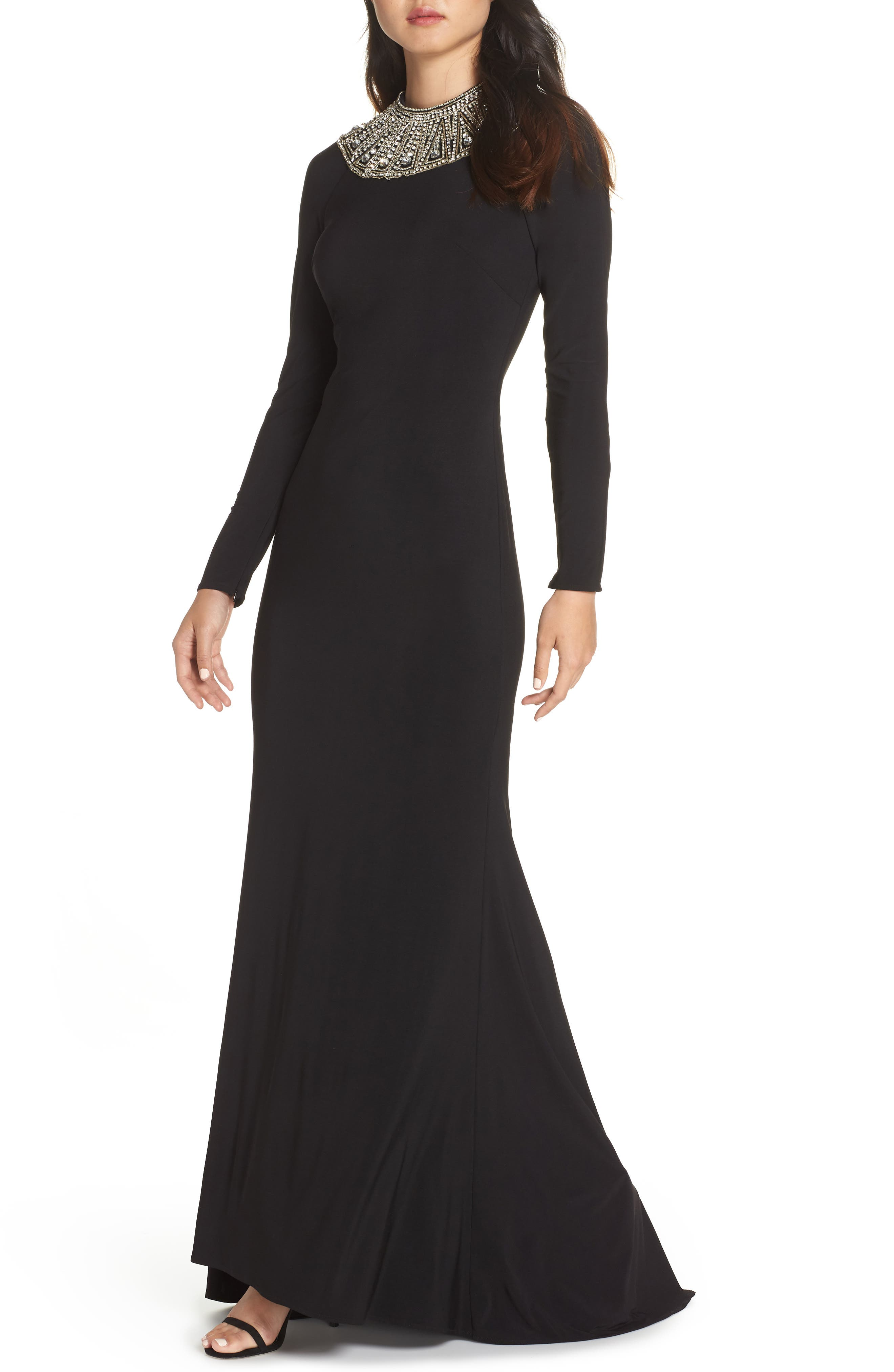 MAC Duggal Beaded Collar Jersey Gown, Black