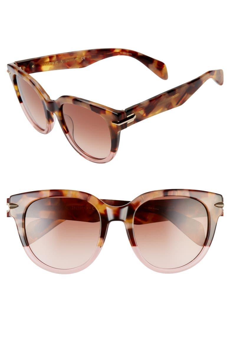 RAG & BONE 54mm Cat Eye Sunglasses, Main, color, BROWN HAVANA/ PINK