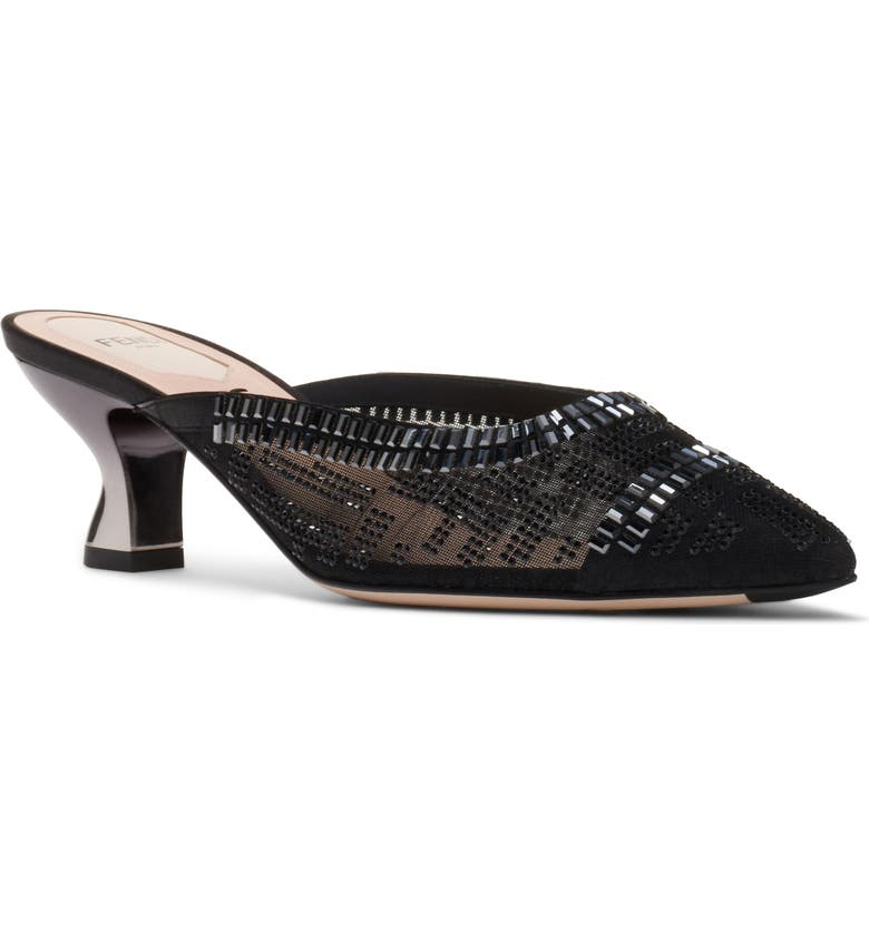 FENDI Colibri Embellished Mule, Main, color, BLACK SILK CRYSTAL