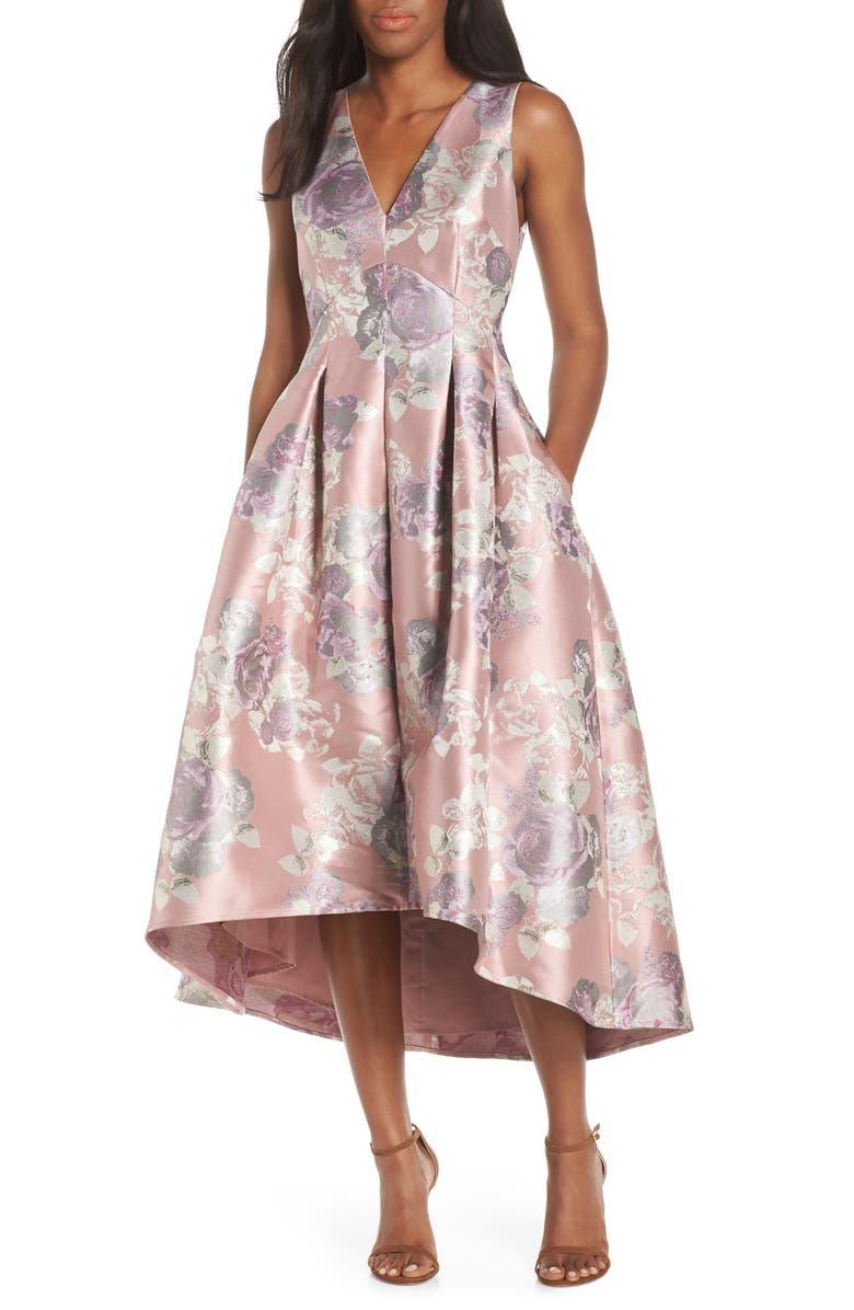 ELIZA J Floral Jacquard High/Low Ballgown, Main, color, BLUSH