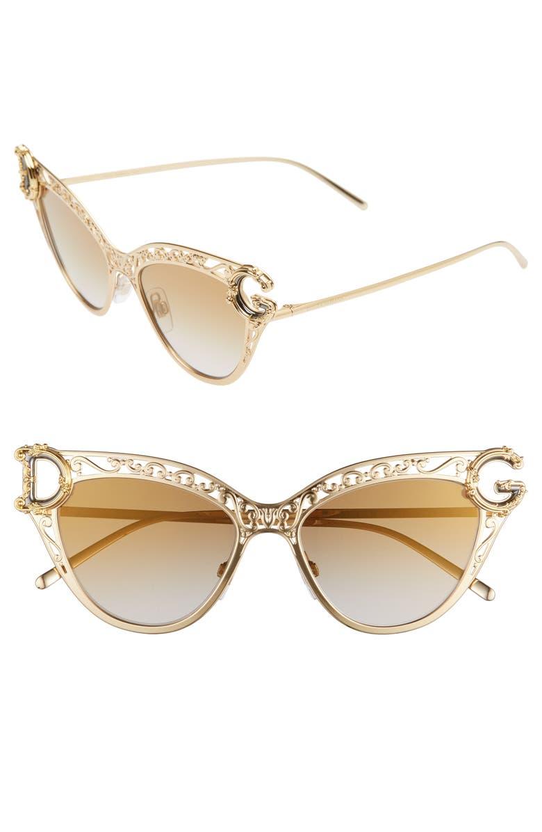 DOLCE&GABBANA 54mm Cat Eye Sunglasses, Main, color, GOLD/ GRAD BROWN GOLD MIRROR