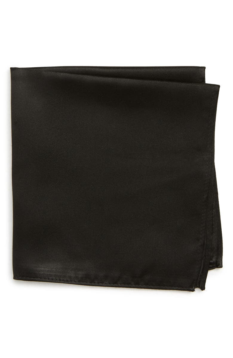 NORDSTROM MEN'S SHOP Solid Silk Pocket Square, Main, color, BLACK