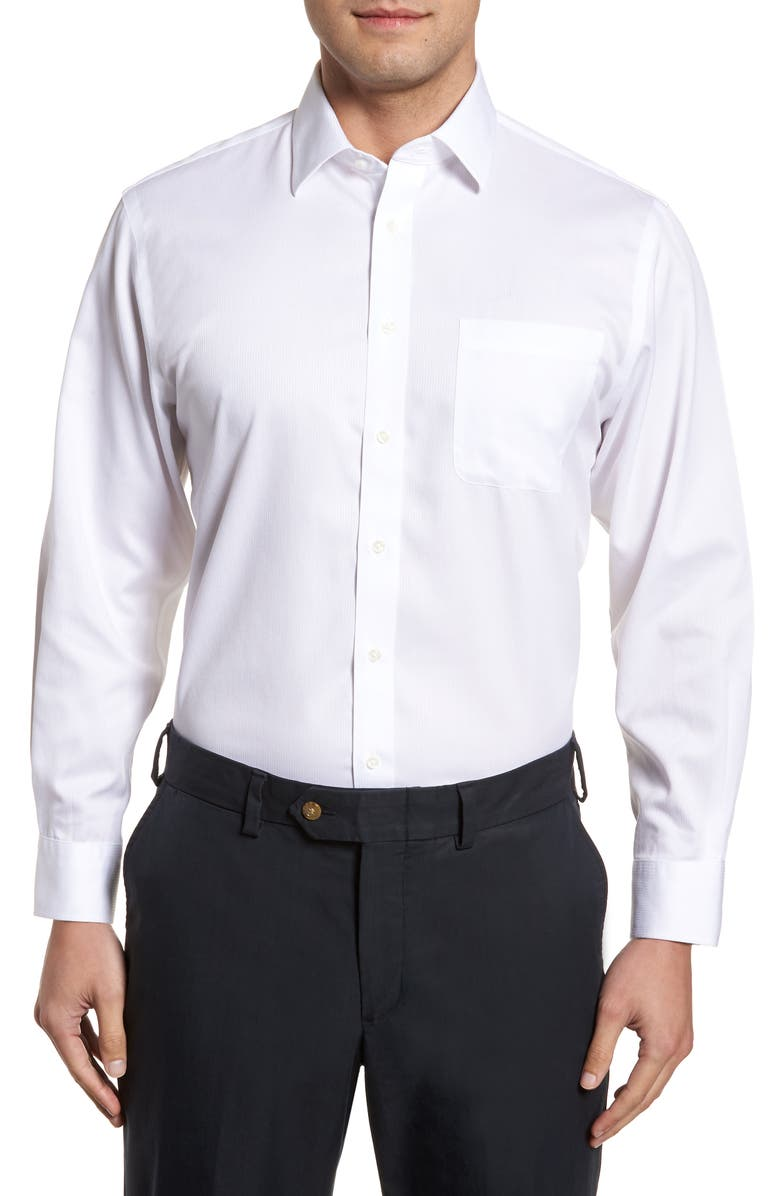 NORDSTROM MEN'S SHOP Smartcare<sup>™</sup> Traditional Fit Stripe Dress Shirt, Main, color, WHITE