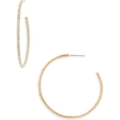 Nordstrom Medium Seamless Pave Hoop Earrings
