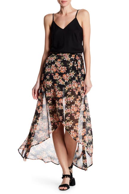 Image of Flying Tomato Floral Wrap High/Low Skirt