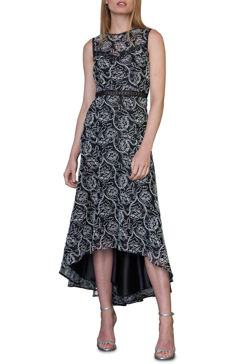ML MONIQUE LHUILLIER Lace Sleeveless High/Low Midi Dress, Main, color, JET/ WHITE COMBO
