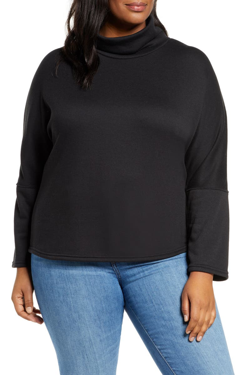 CASLON<SUP>®</SUP> Cozy Turtleneck Sweatshirt, Main, color, BLACK