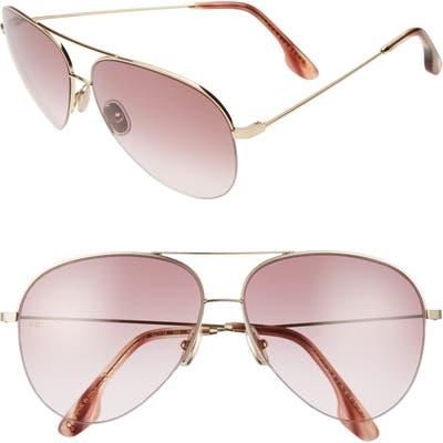 Victoria Beckham 62mm Gradient Aviator Sunglasses - Gold/ Burgundy