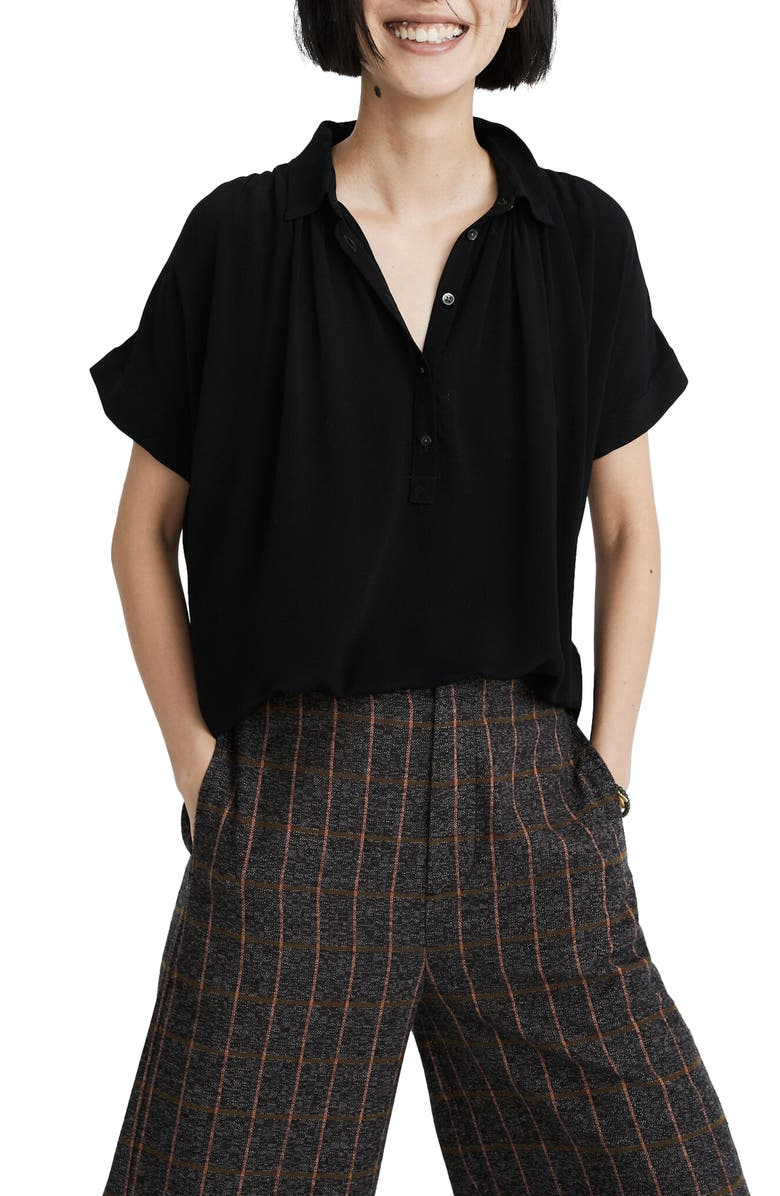 MADEWELL Central Drapey Popover Shirt, Main, color, 001