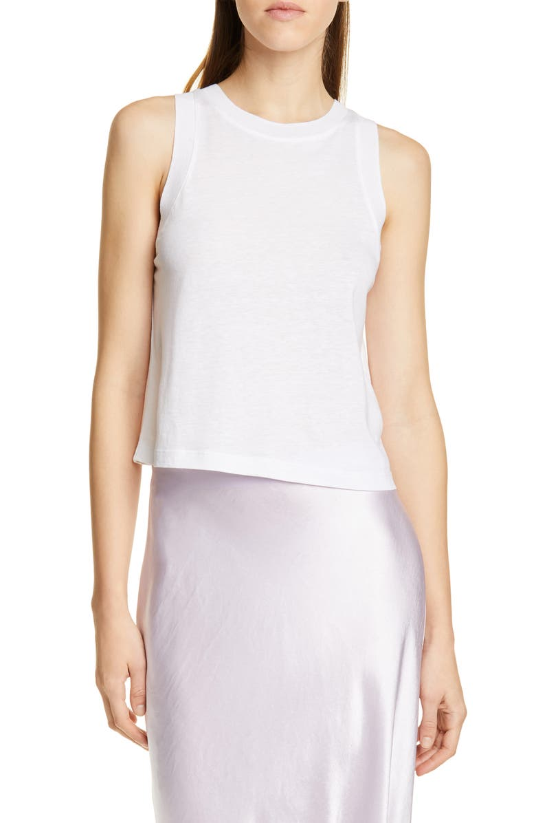 VINCE Sweater Trim Tank, Main, color, OPTIC WHITE